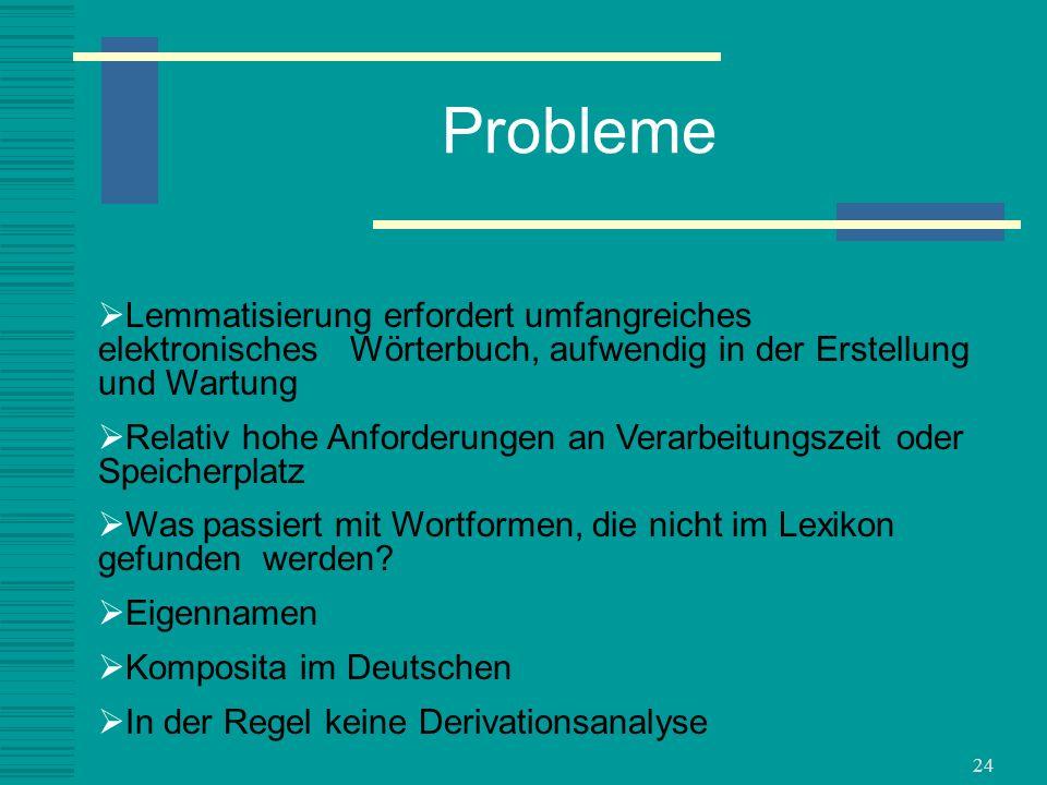 Probleme Lemmatisierung erfordert umfangreiches elektronisches Wörterbuch, aufwendig in der Erstellung und Wartung.
