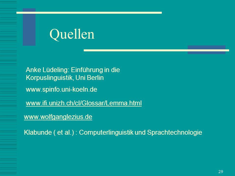 Quellen Anke Lüdeling: Einführung in die Korpuslinguistik, Uni Berlin