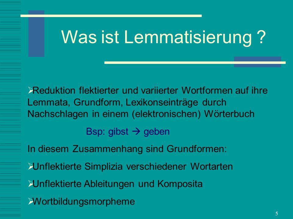 Was ist Lemmatisierung