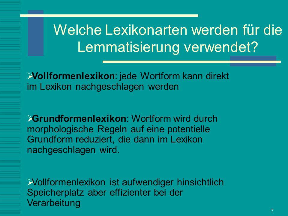 Welche Lexikonarten werden für die Lemmatisierung verwendet