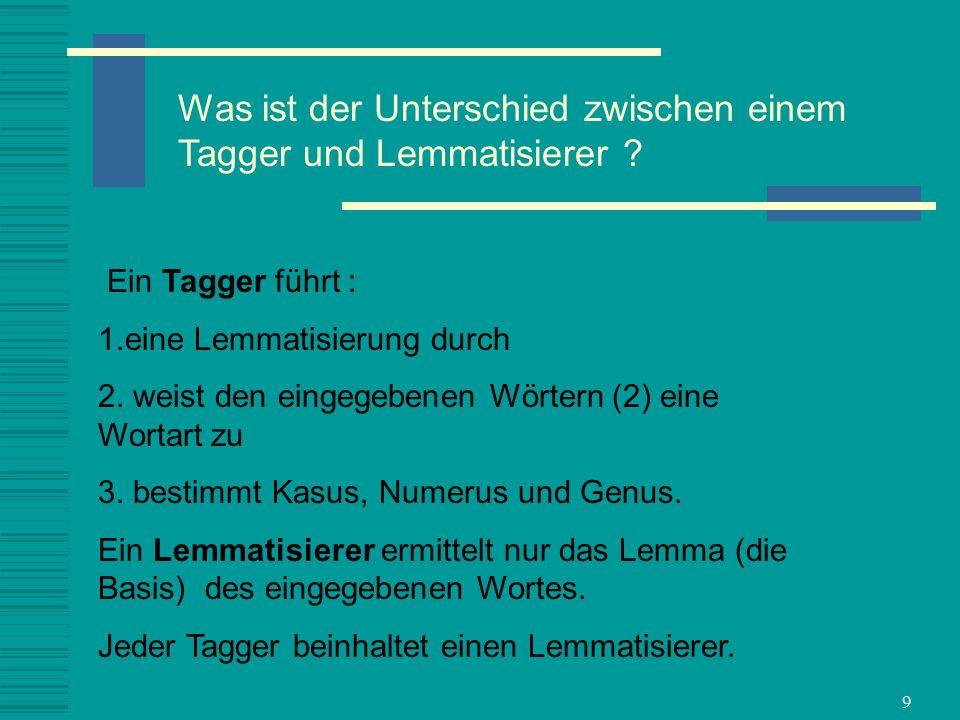 Was ist der Unterschied zwischen einem Tagger und Lemmatisierer