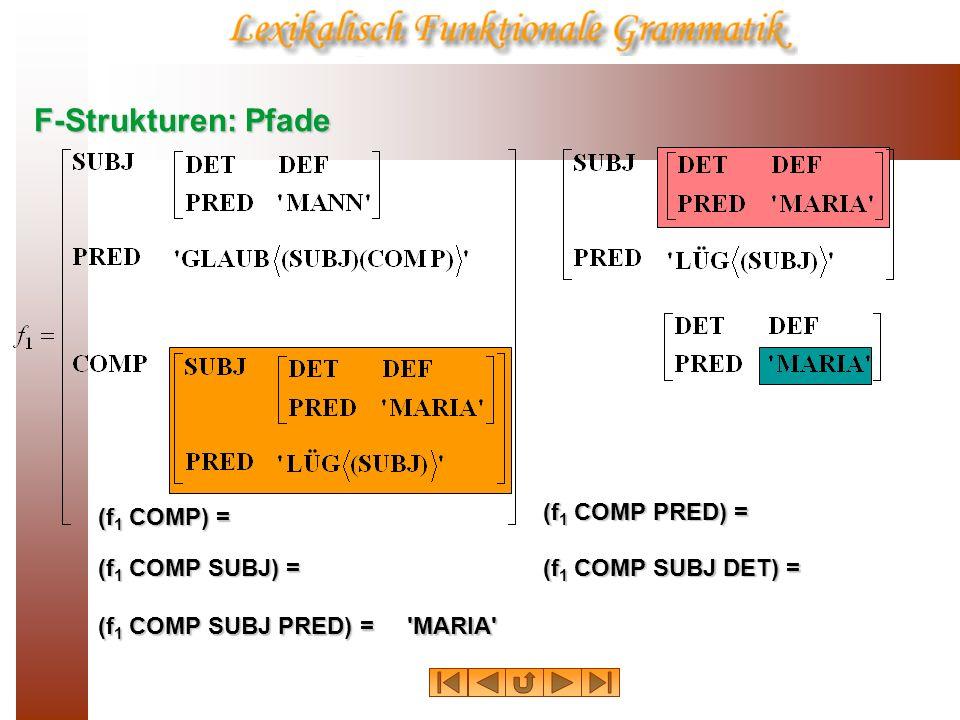 F-Strukturen: Pfade (f1 COMP) = (f1 COMP PRED) = (f1 COMP SUBJ) =