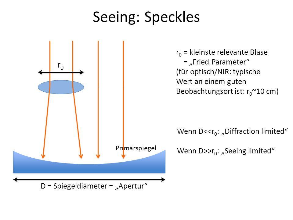 """Seeing: Speckles r0 r0 = kleinste relevante Blase = """"Fried Parameter"""