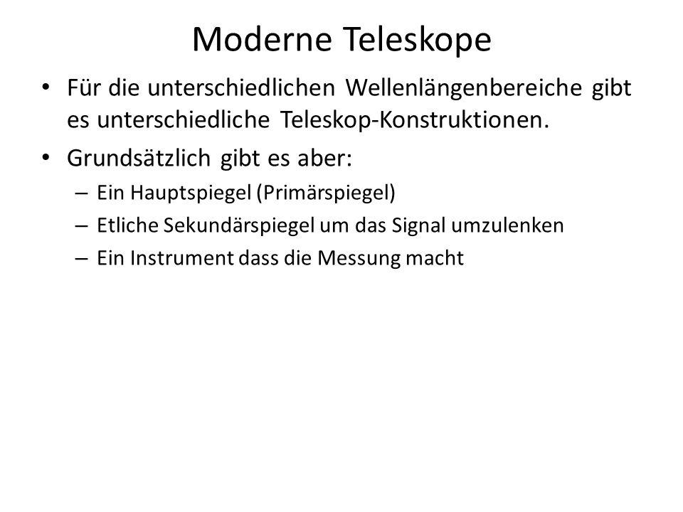 Moderne Teleskope Für die unterschiedlichen Wellenlängenbereiche gibt es unterschiedliche Teleskop-Konstruktionen.