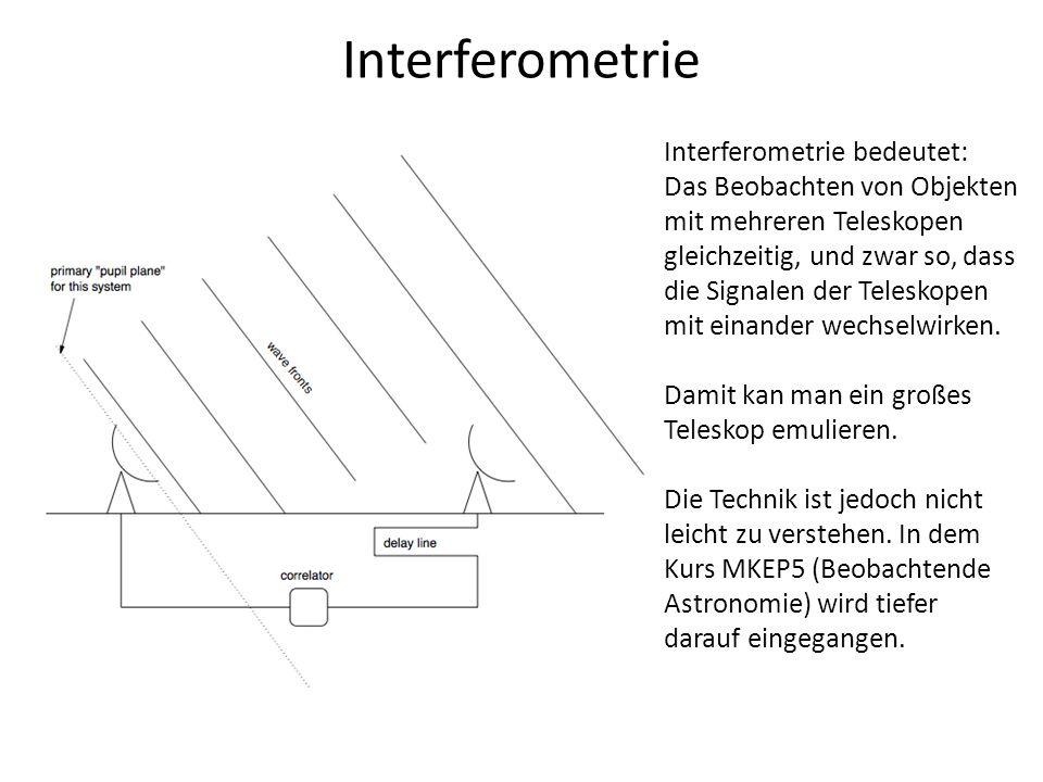 Interferometrie Interferometrie bedeutet: Das Beobachten von Objekten
