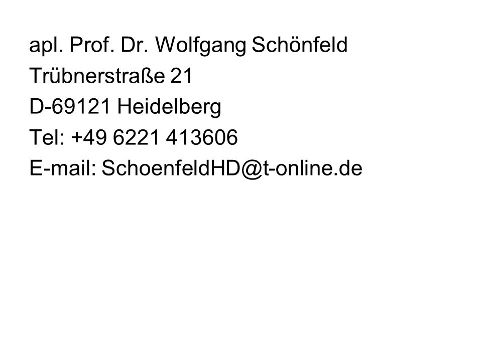 apl. Prof. Dr. Wolfgang Schönfeld