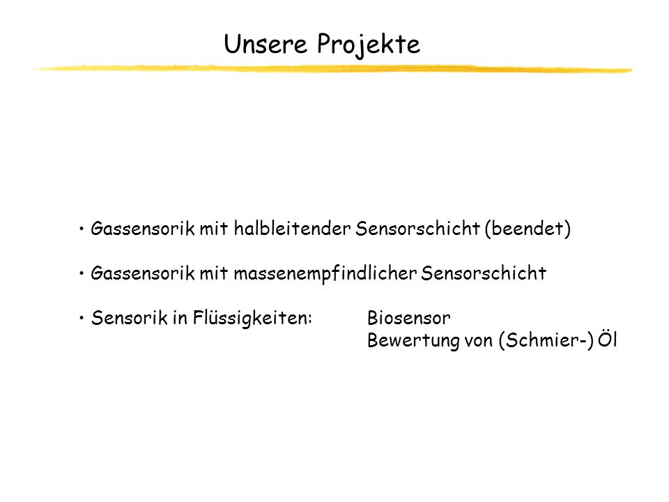 Unsere Projekte Gassensorik mit halbleitender Sensorschicht (beendet)