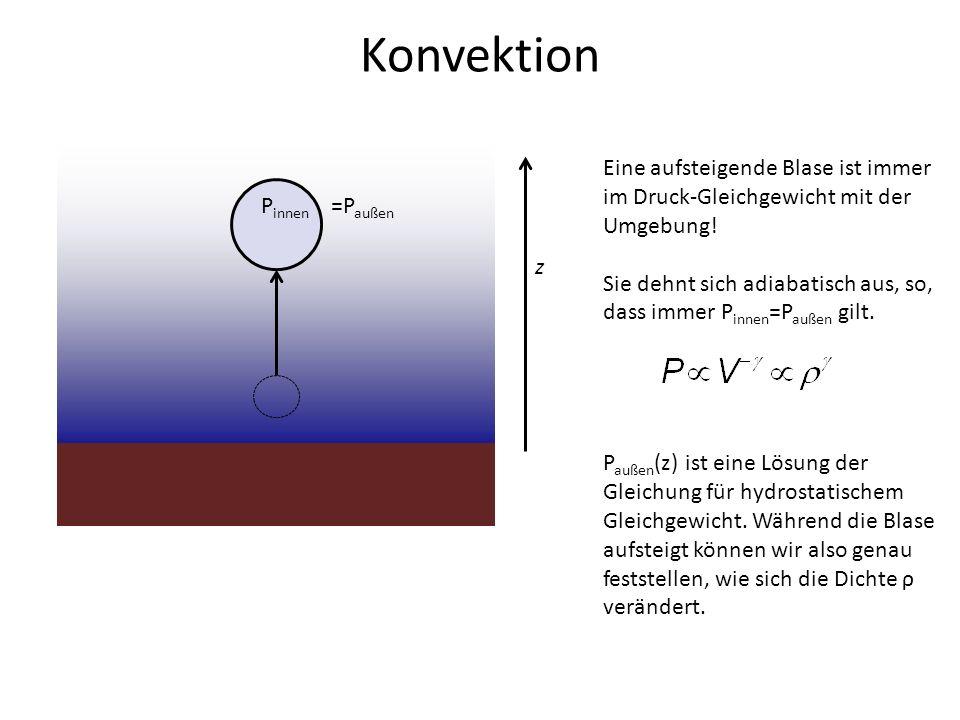Konvektion Eine aufsteigende Blase ist immer