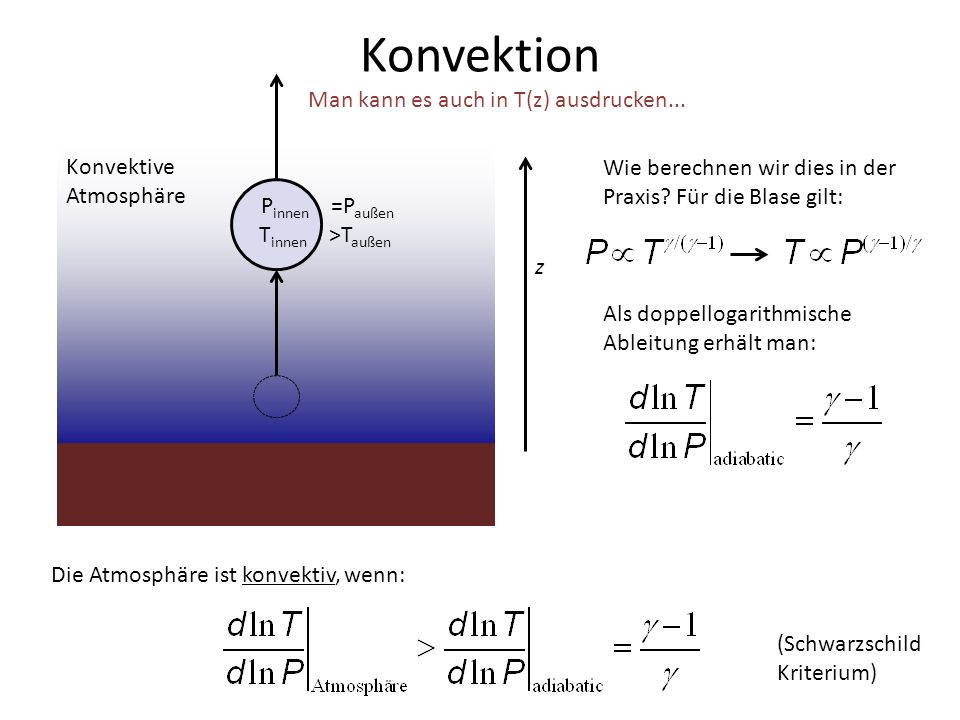 Konvektion Man kann es auch in T(z) ausdrucken... Konvektive