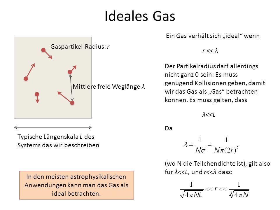 """Ideales Gas Ein Gas verhält sich """"ideal wenn Gaspartikel-Radius: r"""