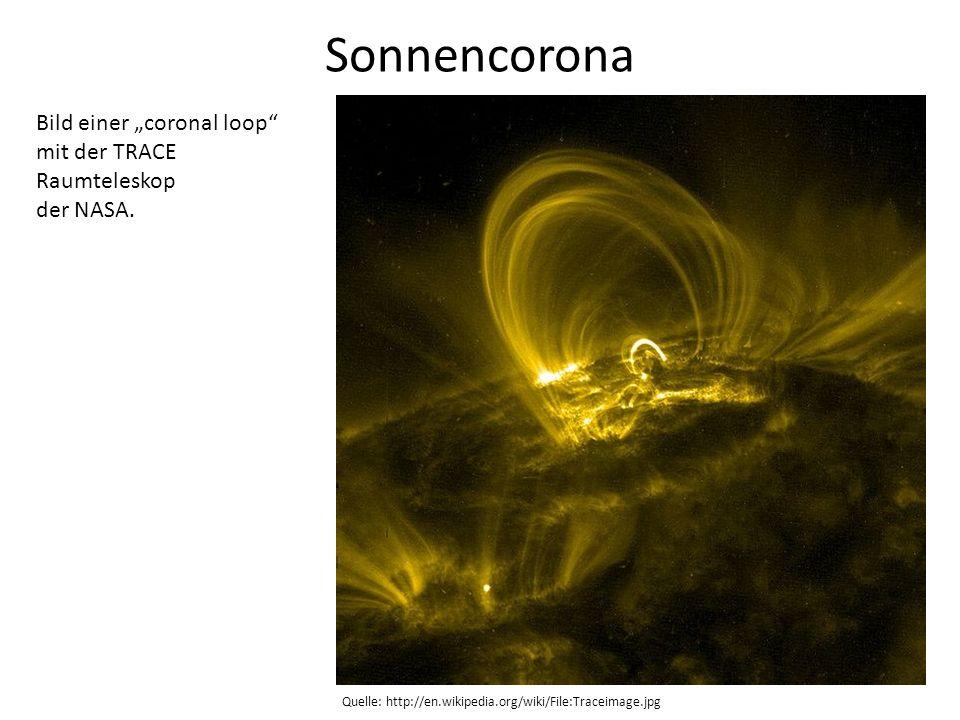 """Sonnencorona Bild einer """"coronal loop mit der TRACE Raumteleskop"""