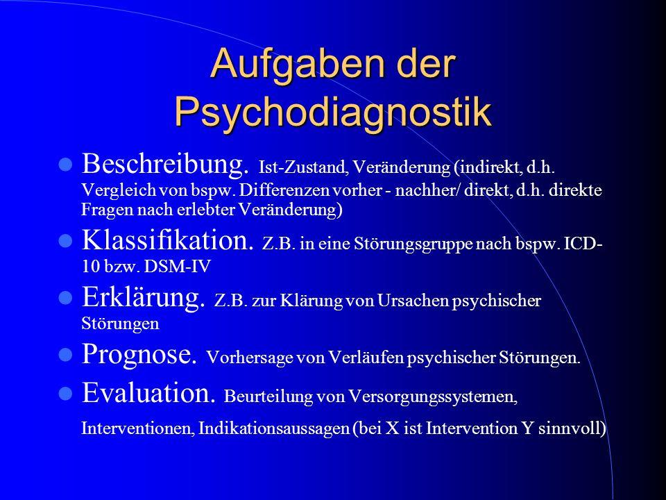 Aufgaben der Psychodiagnostik