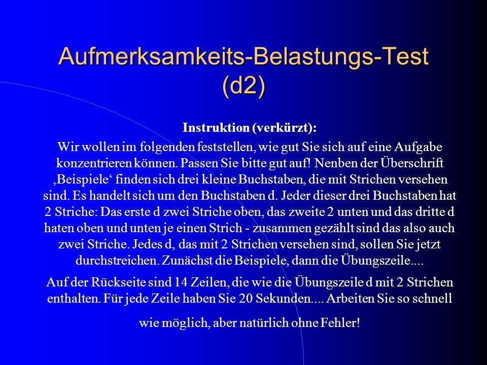 Aufmerksamkeits-Belastungs-Test (d2)