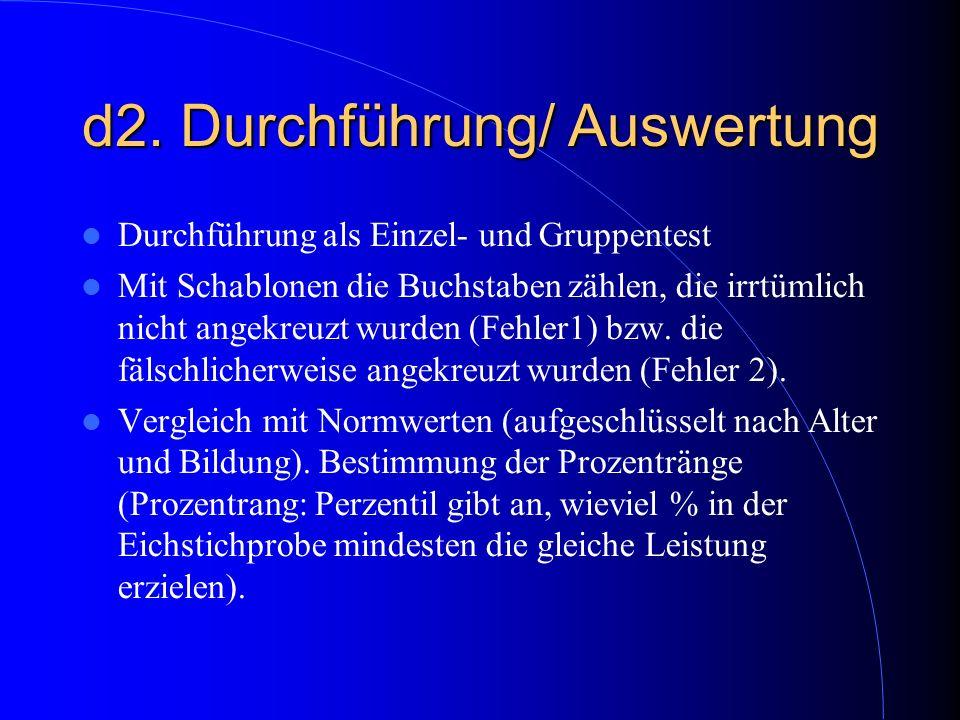 d2. Durchführung/ Auswertung