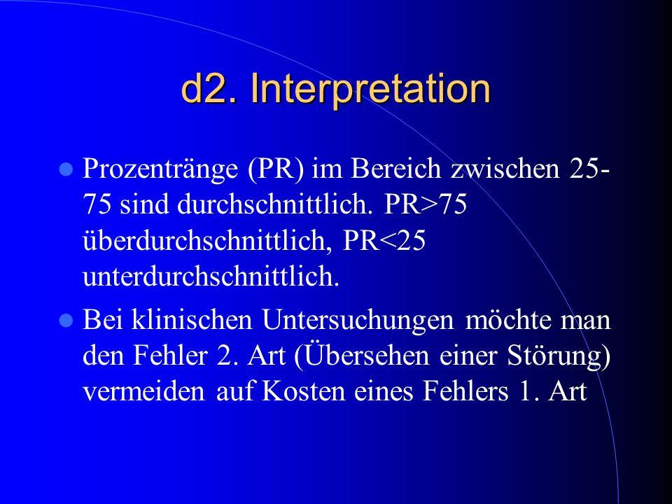 d2. Interpretation Prozentränge (PR) im Bereich zwischen 25- 75 sind durchschnittlich. PR>75 überdurchschnittlich, PR<25 unterdurchschnittlich.