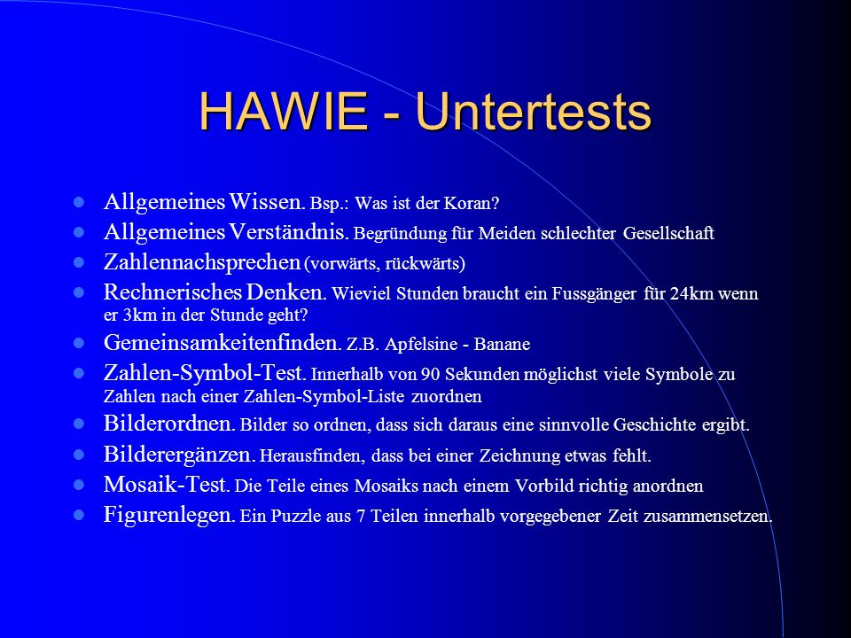 HAWIE - Untertests Allgemeines Wissen. Bsp.: Was ist der Koran