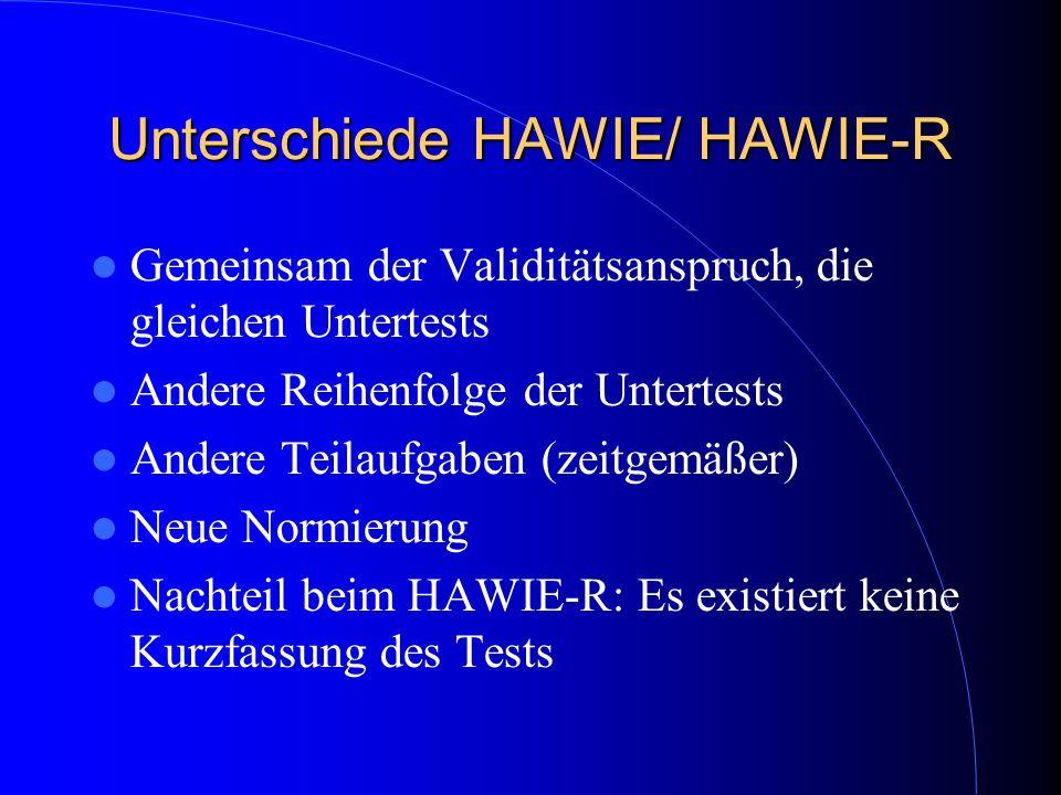 Unterschiede HAWIE/ HAWIE-R