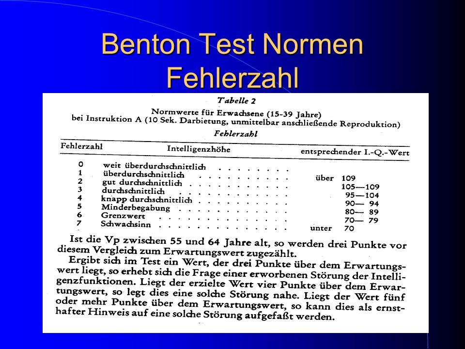 Benton Test Normen Fehlerzahl