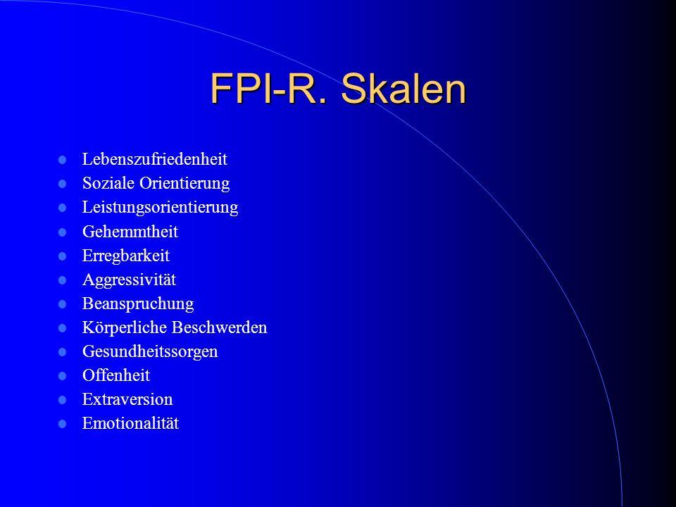 FPI-R. Skalen Lebenszufriedenheit Soziale Orientierung