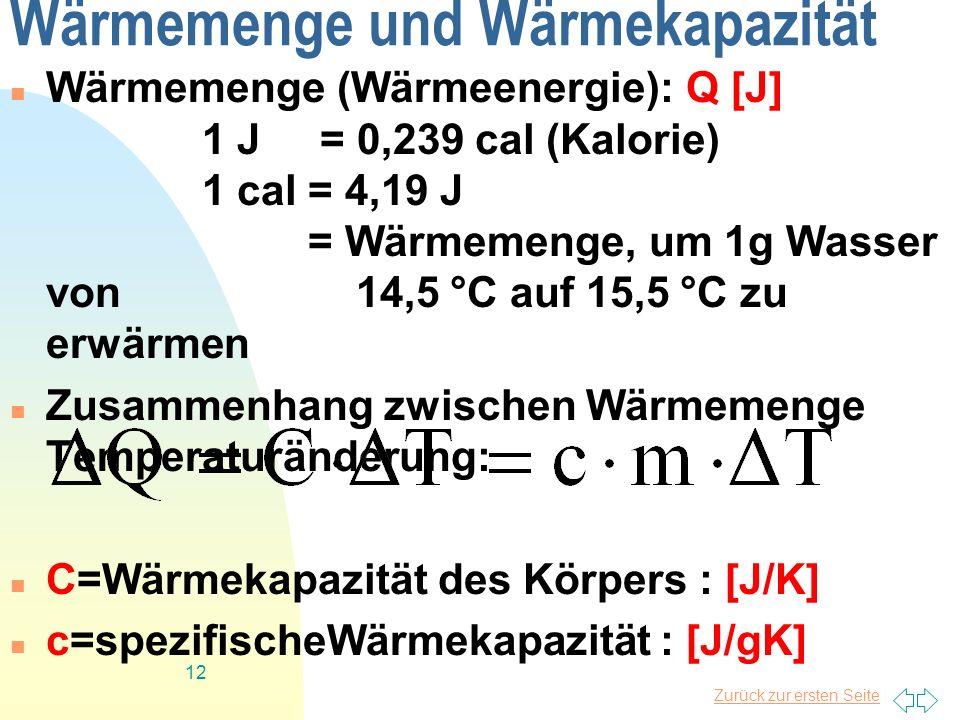 Wärmemenge und Wärmekapazität