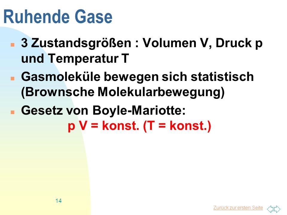 Ruhende Gase 3 Zustandsgrößen : Volumen V, Druck p und Temperatur T