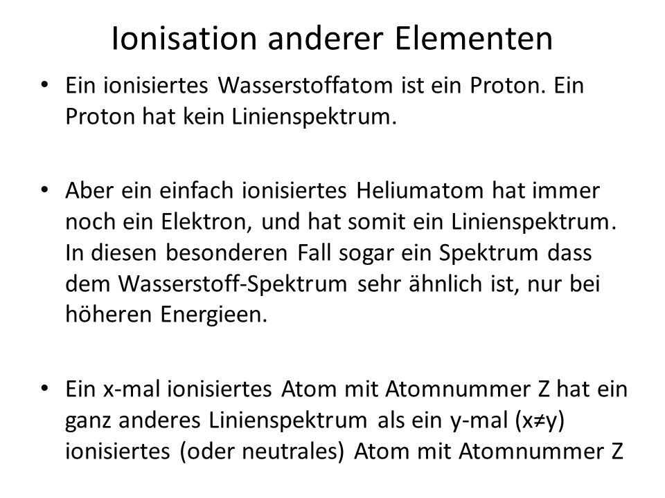 Ionisation anderer Elementen