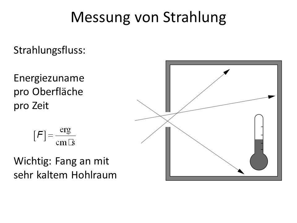 Messung von Strahlung Strahlungsfluss: Energiezuname pro Oberfläche