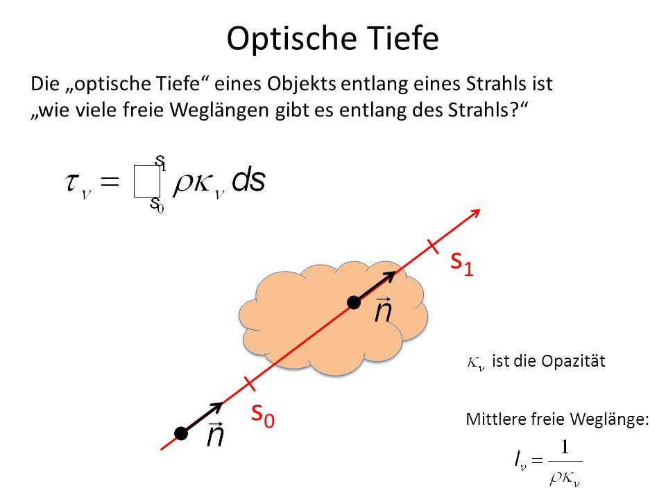 """Optische Tiefe Die """"optische Tiefe eines Objekts entlang eines Strahls ist. """"wie viele freie Weglängen gibt es entlang des Strahls"""