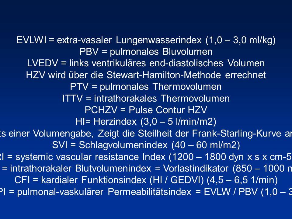 EVLWI = extra-vasaler Lungenwasserindex (1,0 – 3,0 ml/kg)