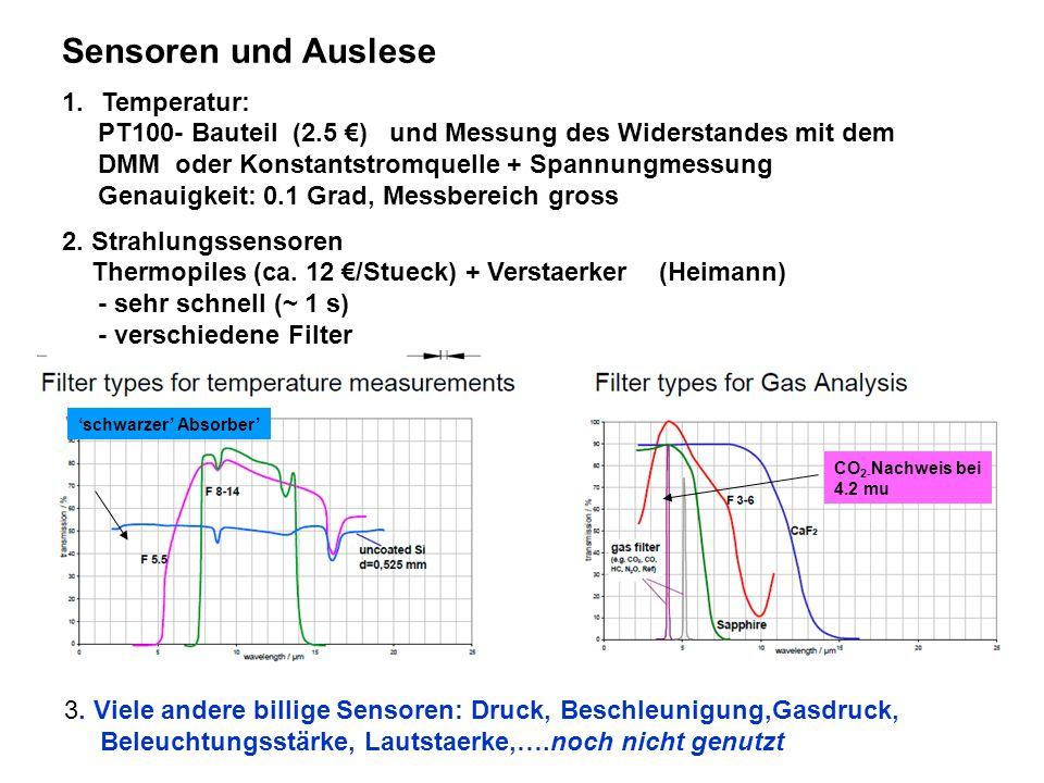 Sensoren und Auslese Temperatur: