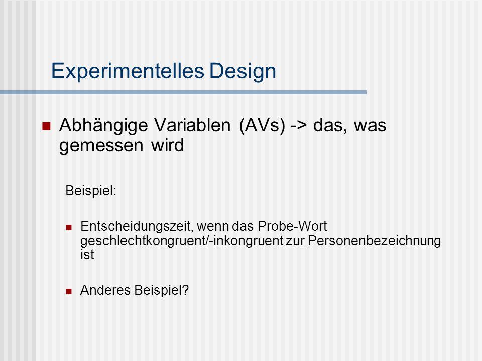 Experimentelles Design