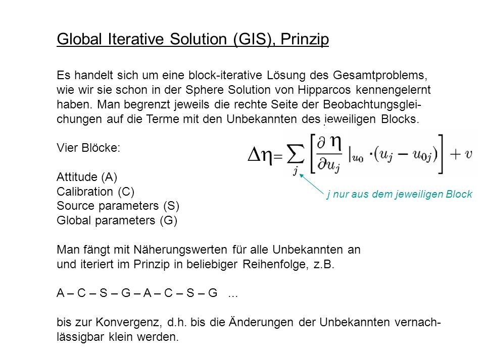 h Dh= Global Iterative Solution (GIS), Prinzip