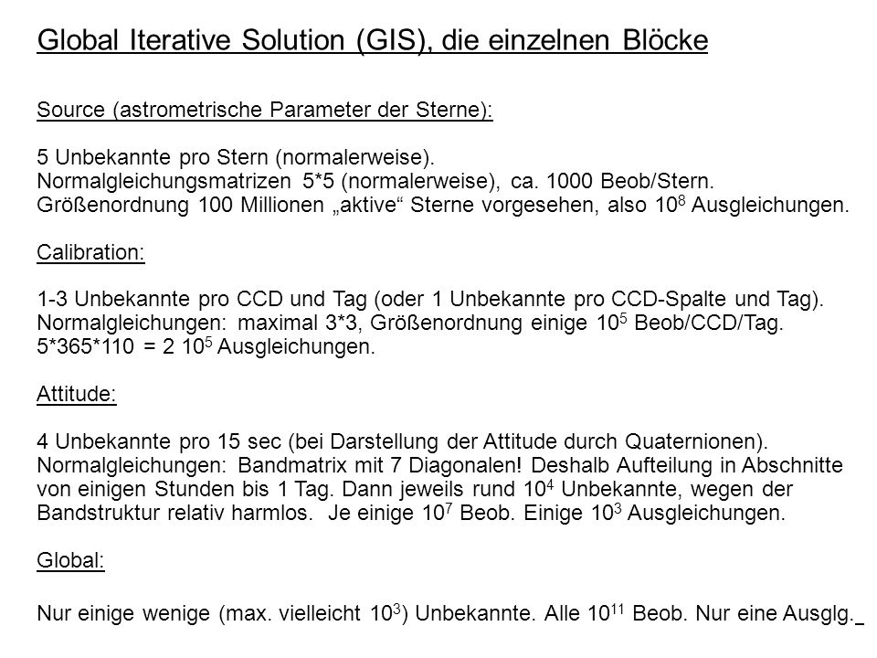 Global Iterative Solution (GIS), die einzelnen Blöcke