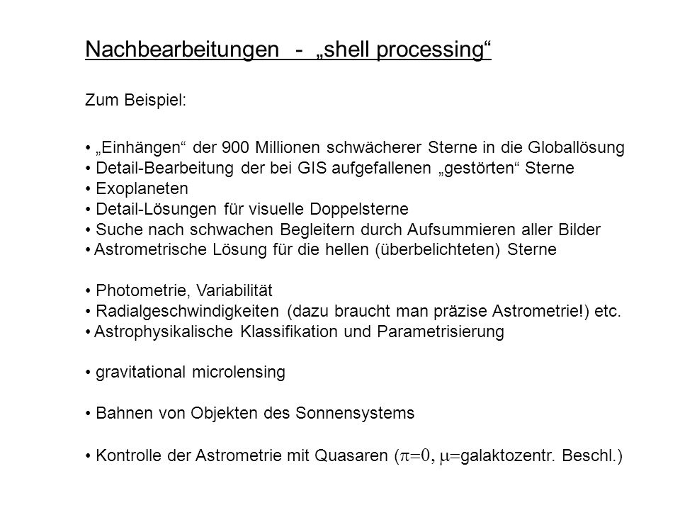 """Nachbearbeitungen - """"shell processing"""