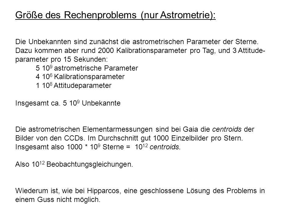 Größe des Rechenproblems (nur Astrometrie):