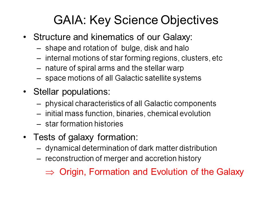 GAIA: Key Science Objectives