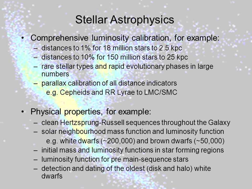 Stellar Astrophysics Comprehensive luminosity calibration, for example: distances to 1% for 18 million stars to 2.5 kpc.