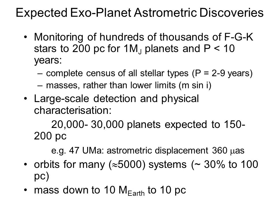 Expected Exo-Planet Astrometric Discoveries