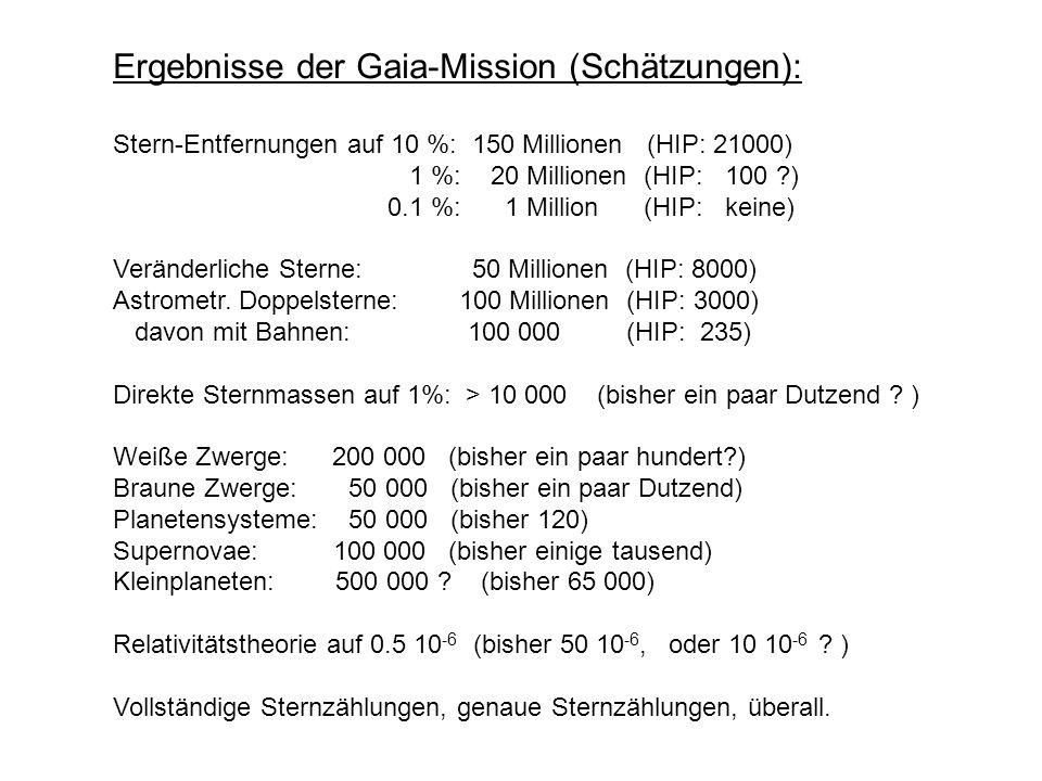 Ergebnisse der Gaia-Mission (Schätzungen):