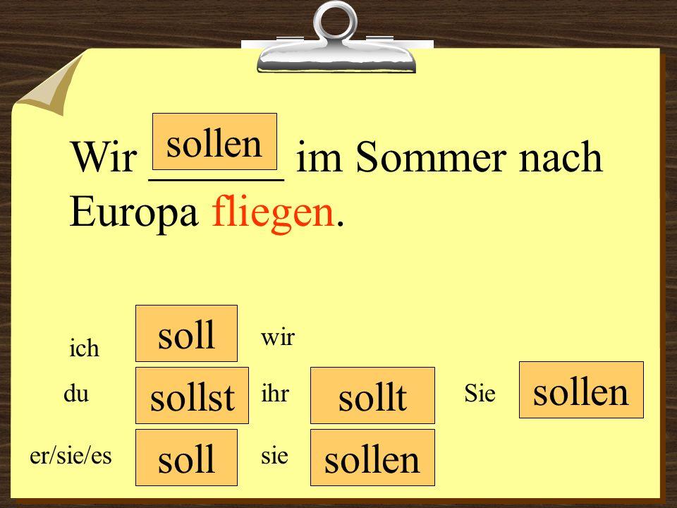 Wir ______ im Sommer nach Europa fliegen.