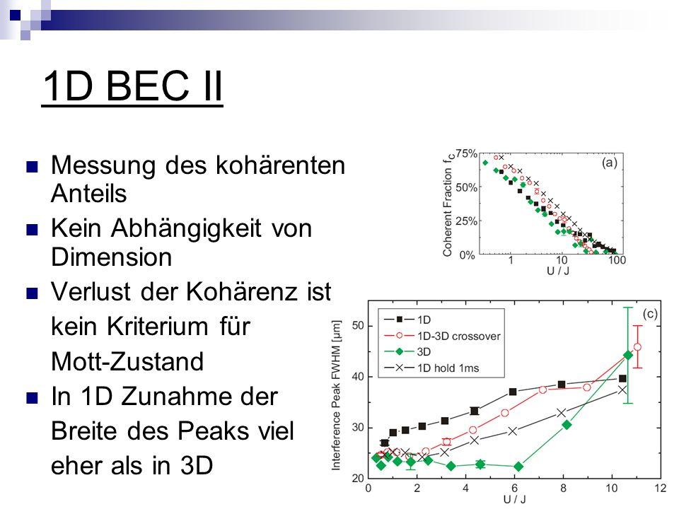 1D BEC II Messung des kohärenten Anteils