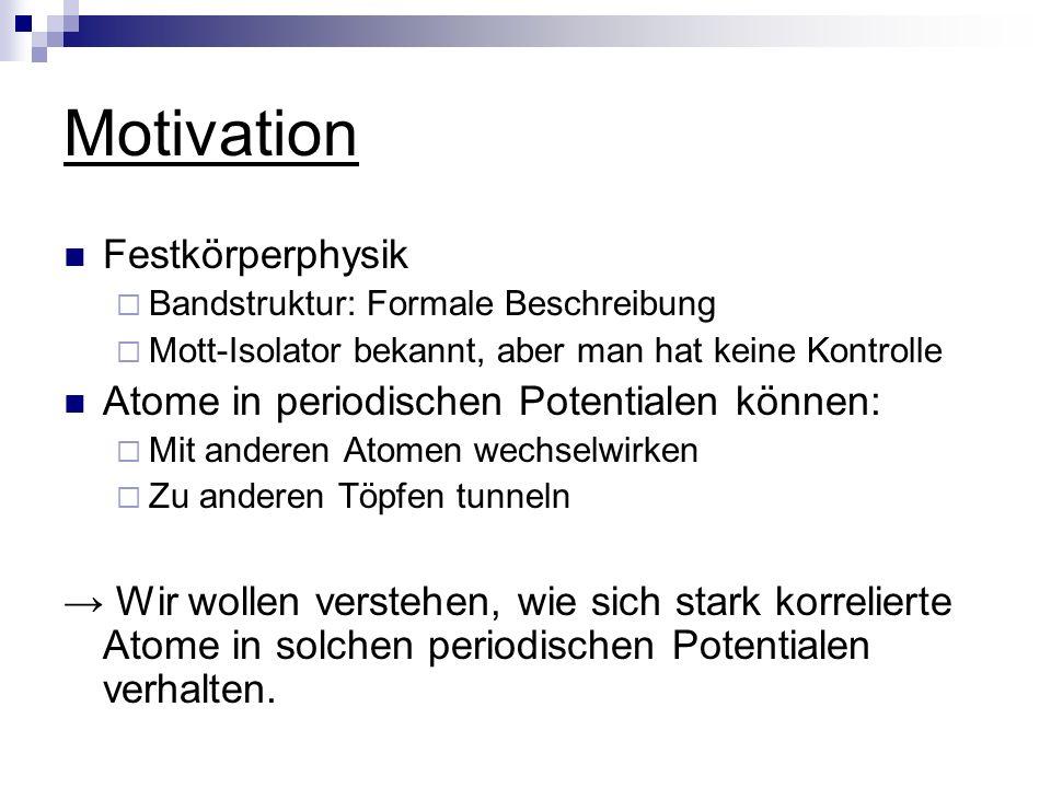 Motivation Festkörperphysik Atome in periodischen Potentialen können: