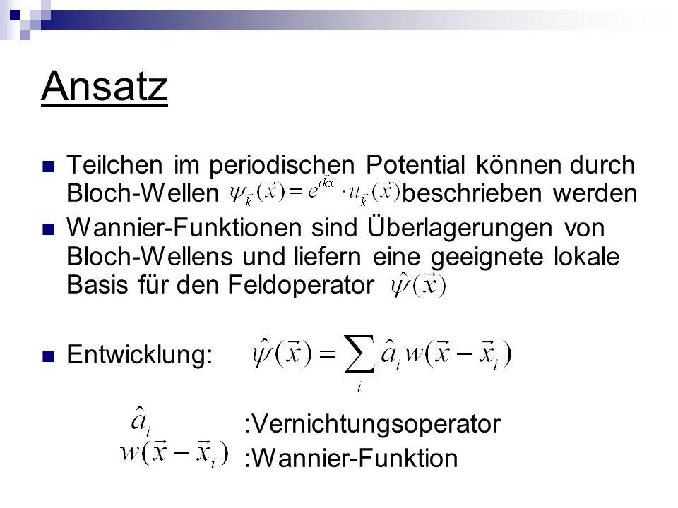 Ansatz Teilchen im periodischen Potential können durch Bloch-Wellen beschrieben werden.