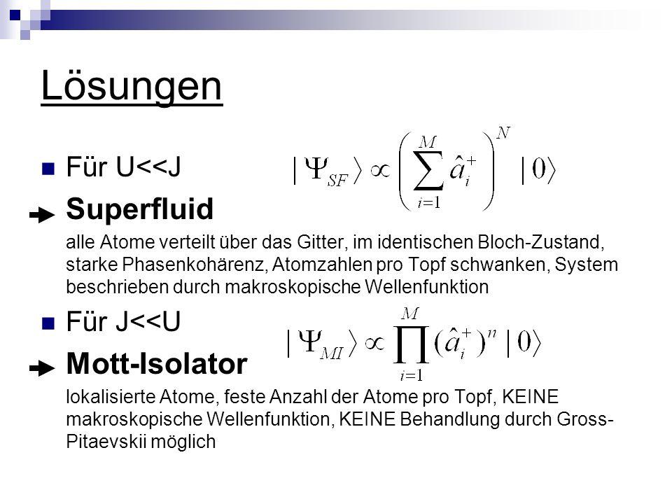 Lösungen Superfluid Mott-Isolator Für U<<J Für J<<U