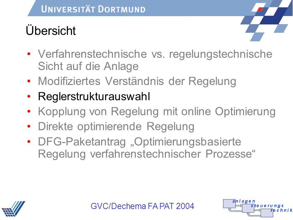 Übersicht Verfahrenstechnische vs. regelungstechnische Sicht auf die Anlage. Modifiziertes Verständnis der Regelung.