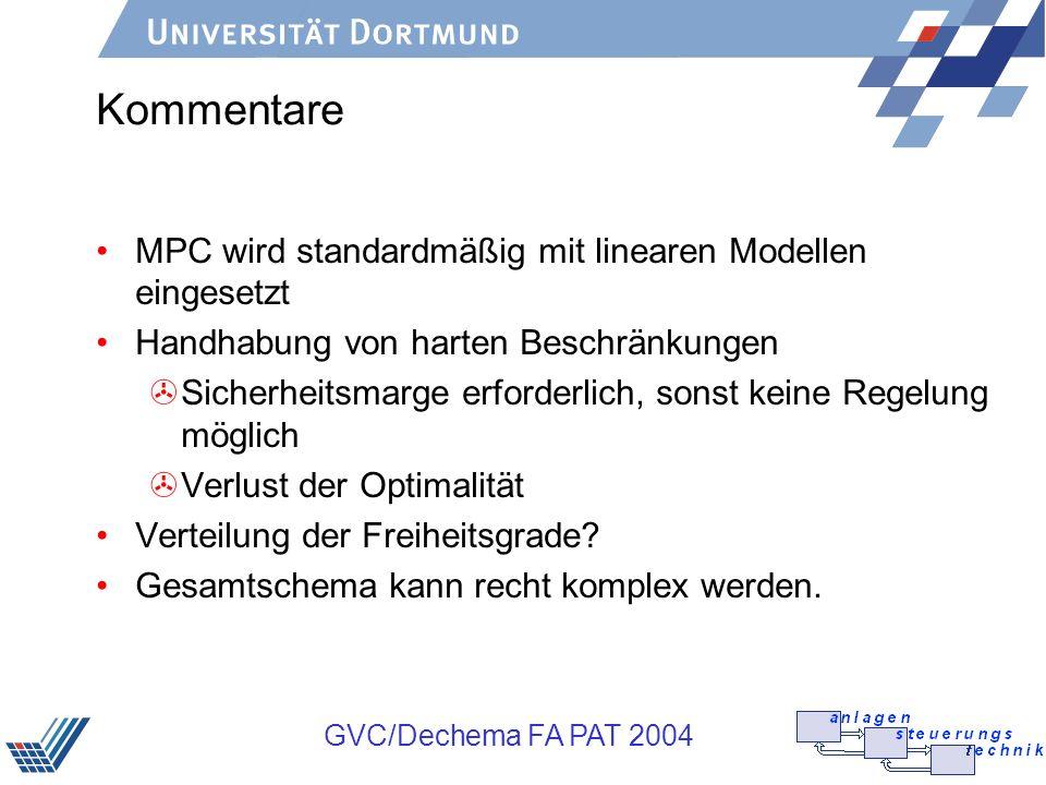 Kommentare MPC wird standardmäßig mit linearen Modellen eingesetzt