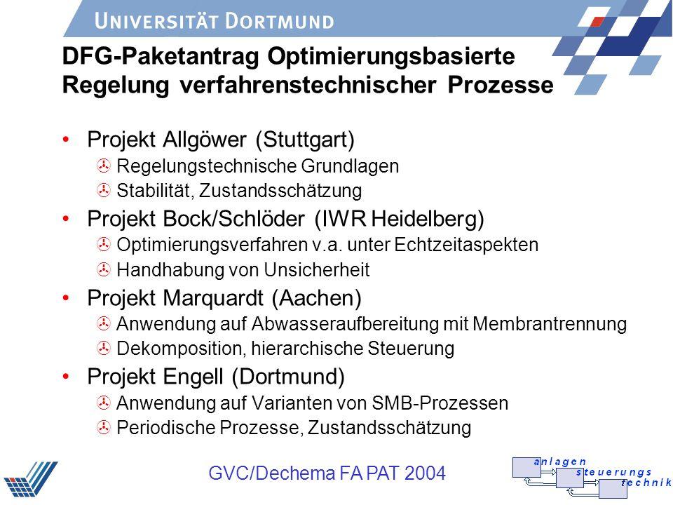 DFG-Paketantrag Optimierungsbasierte Regelung verfahrenstechnischer Prozesse