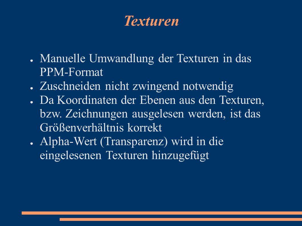 Texturen Manuelle Umwandlung der Texturen in das PPM-Format