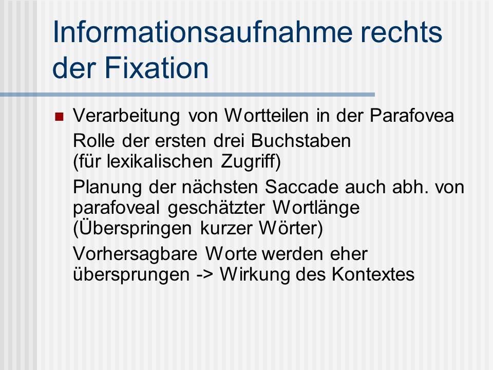 Informationsaufnahme rechts der Fixation