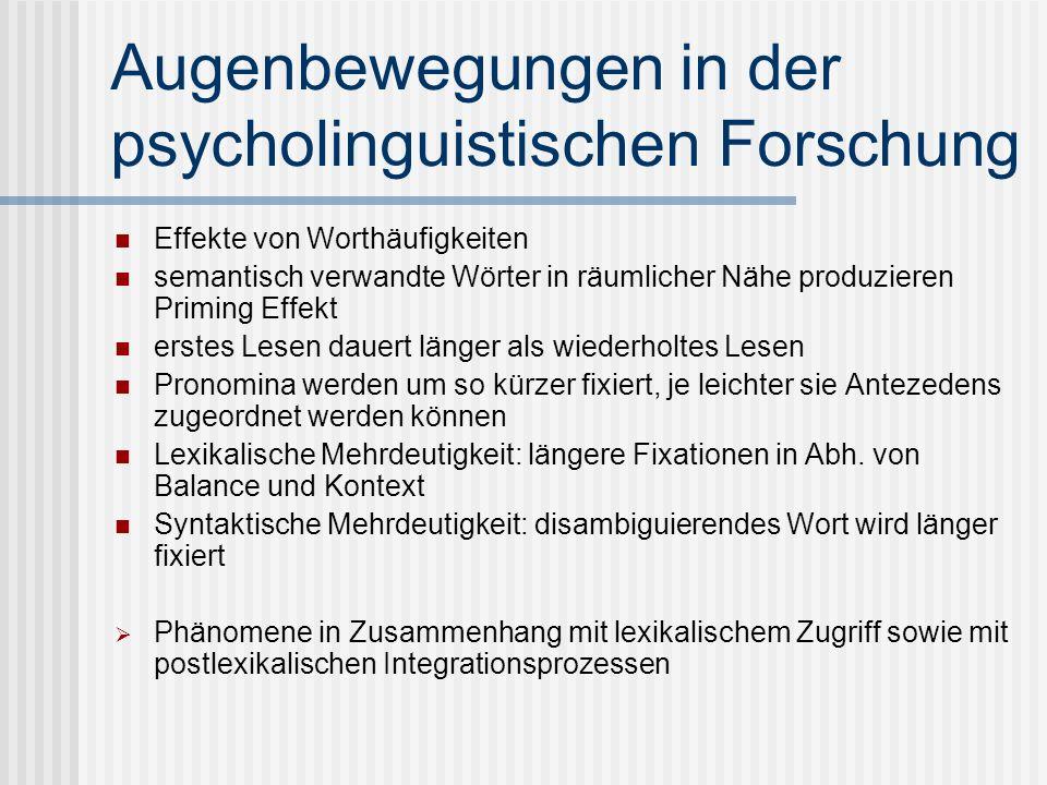 Augenbewegungen in der psycholinguistischen Forschung